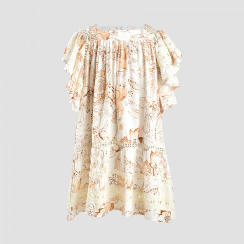 GALE DRESS (BABY) - BEIGE AMIHAN PRINT